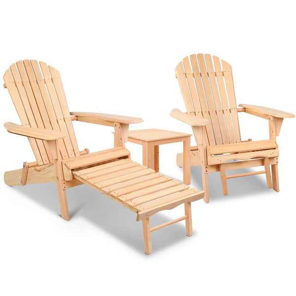 Adirondack Chairs  x 2 and Ottoman Set [product_type} - Outdoor Furniture and Fittings