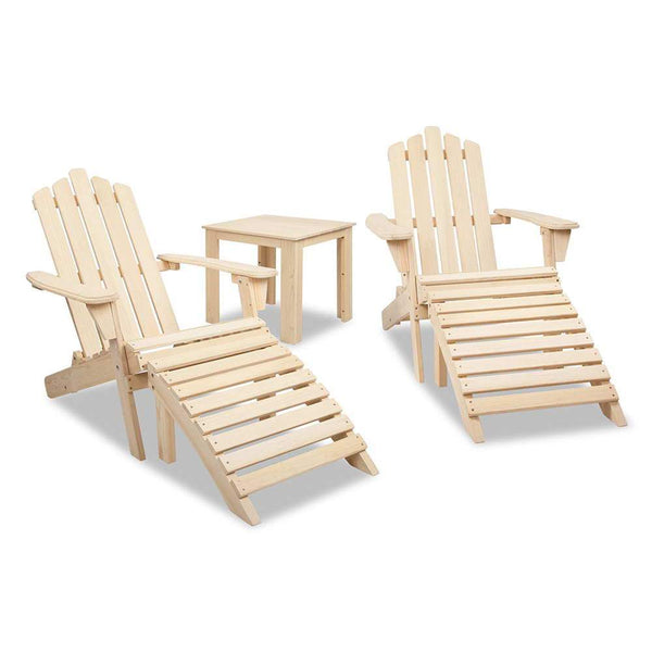 Adirondack Chairs & Side Table 5 Piece Set - Natural [product_type} - Outdoor Furniture and Fittings