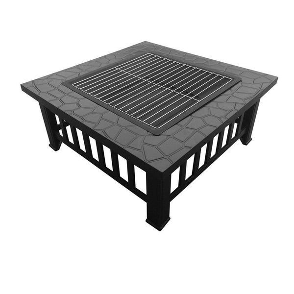 Outdoor Fire Pit BBQ Table Grill Fireplace Stone Pattern