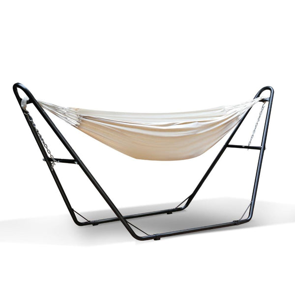 Hammock Bed with Angular Steel Frame Stand - Cream