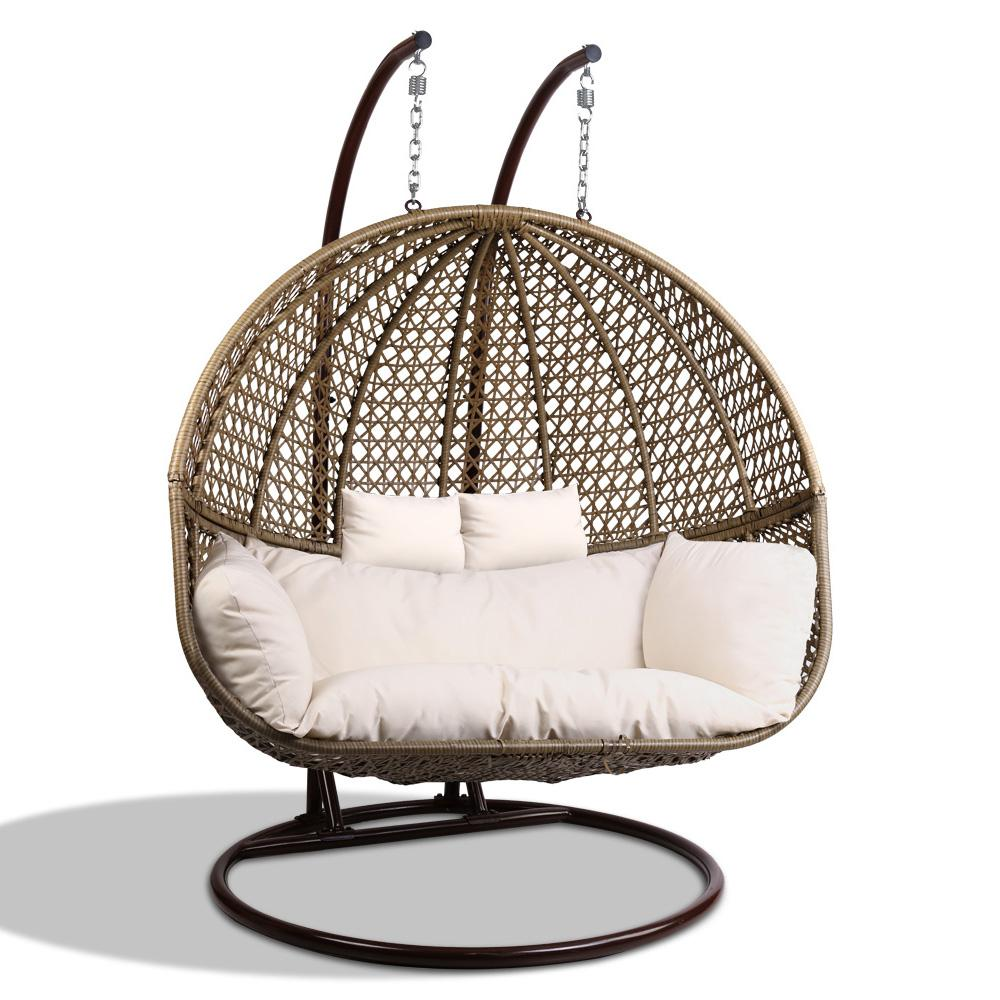 Outdoor Double Hanging Egg Swing Chair Brown Outdoor Furniture