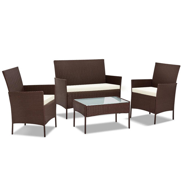 4 Piece Rattan Outdoor Setting - Brown