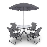 6 Piece Round Outdoor Dining Set - Grey