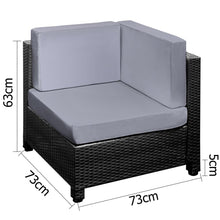 6 pcs Black Wicker Rattan 5 Seater Outdoor Lounge Set Grey [product_type} - Outdoor Furniture and Fittings