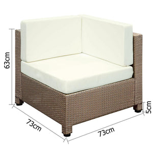 6 pcs Brown Wicker Rattan 5 Seater Outdoor Lounge Set Beige [product_type} - Outdoor Furniture and Fittings