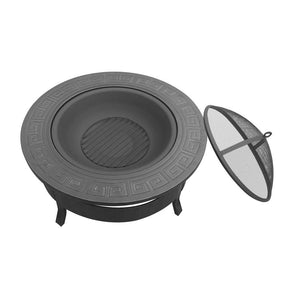 Outdoor Fire Pit BBQ Table Grill Fireplace Round [product_type} - Outdoor Furniture and Fittings