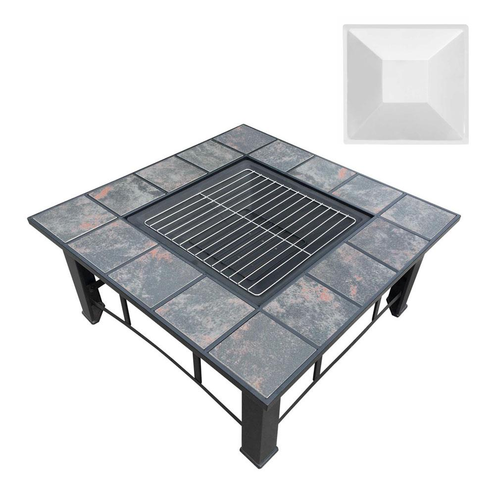 Outdoor Fire Pit BBQ Table Grill Fireplace Ice Bucket w/ Table Lid