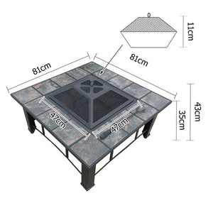 Outdoor Fire Pit BBQ Table Grill Fireplace Ice Bucket w/ Table Lid [product_type} - Outdoor Furniture and Fittings