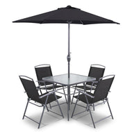 6 Piece Square Outdoor Dining Set - Black