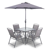 6 Piece Square Outdoor Dining Set - Grey