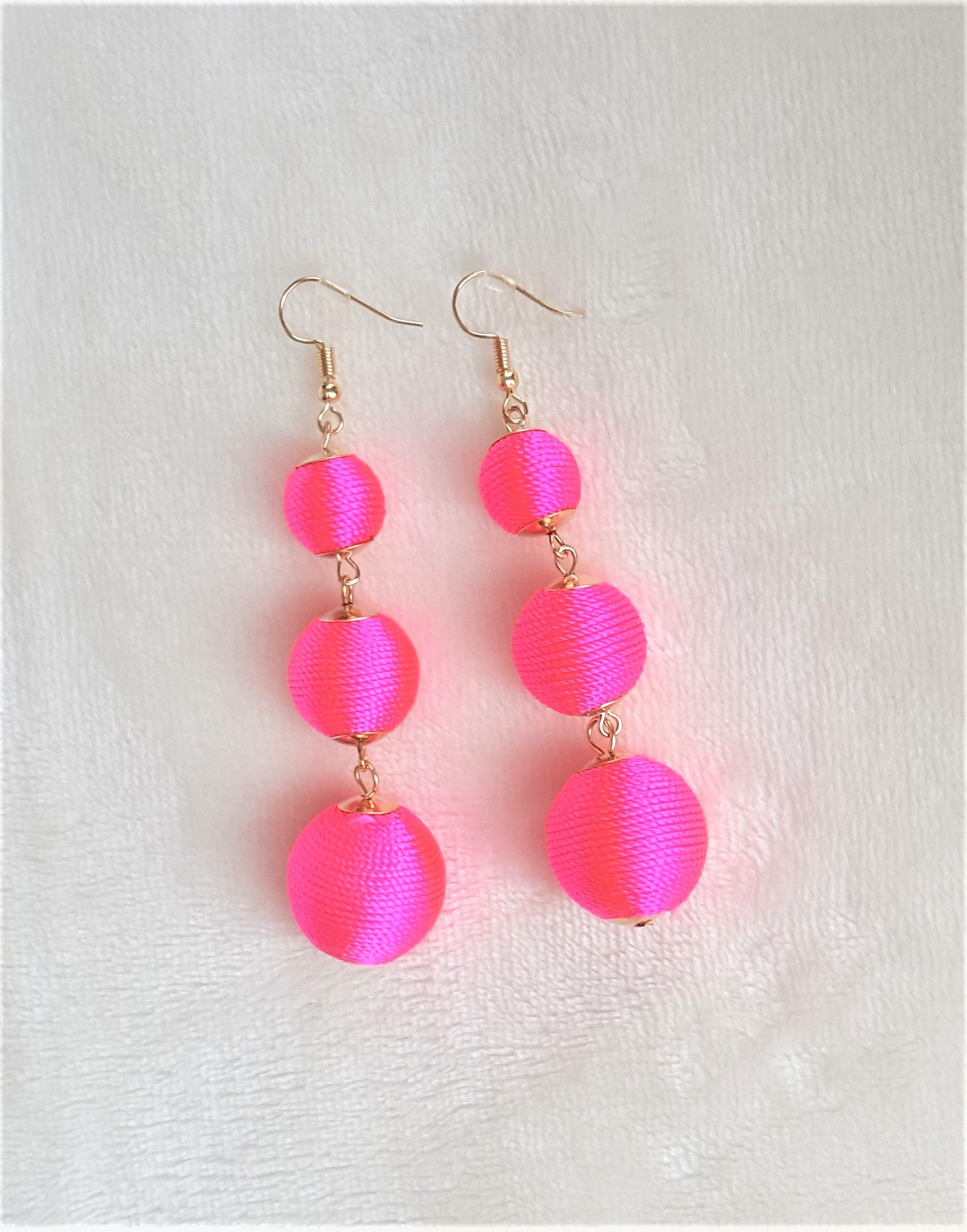 wire wrapped dangly hoops big earrings statement artsy big hoops trendy brass colorful pink boho unique seed bead Neon earrings
