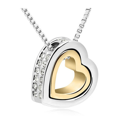 Heart Rhinestone Fashion Necklaces For Women 2017 Gold And Silver Jewelry Crystal Pendant Necklaces Ladies Jewerly Accessories
