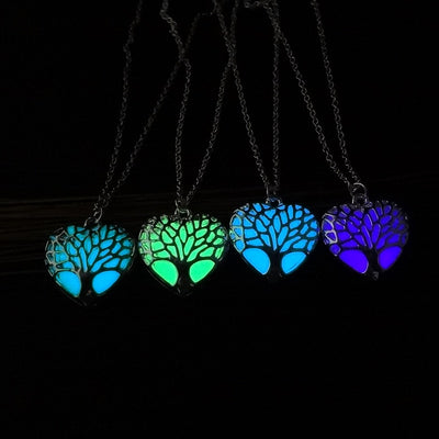 Tree of Life Glow in the Dark Jewelry with Silver Plated Floating Locket Stone Luminous Pendant Long Necklace for Women Gift