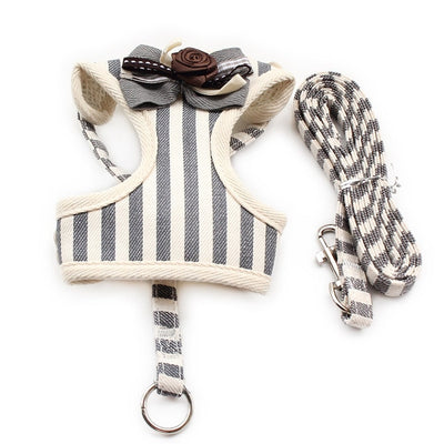Fashion Stripe Vest Cloth Chest Strap Small Dog Cat Halter Harness