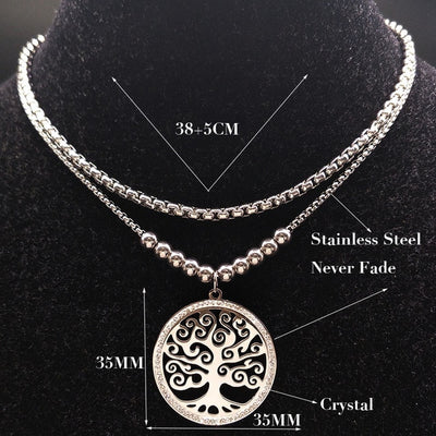 2018 Double Layer Tree of Life Stainless Steel Necklace Women Silver Color Charms Necklace Crystal Jewerly joyeria N18028