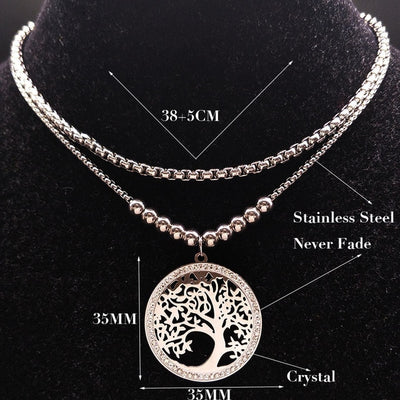 2018 Fashion Tree of Life Crystal Stainless Steel Necklace Women Boy and Girl Silver Color Chain Necklace Jewerly joyas N18029