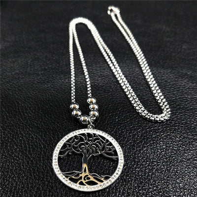 2018 Tree of Life Stainless Steel Long Necklace Women Jewerly With Crystal Silver Color Pendant Necklace Jewelry collares N1746