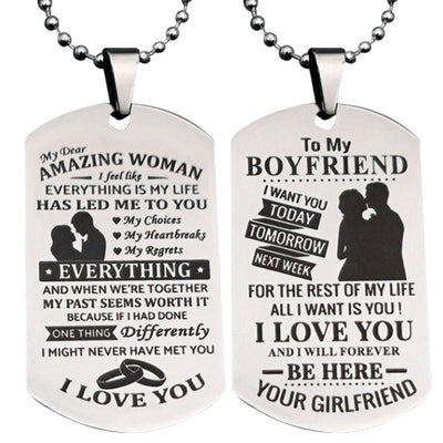 To My Girlfriend/Wife/Boyfriend Stainless Steel Pendant Necklace Dog Tag Birthday Gift Romantic Loverly Anniversary Jewerly