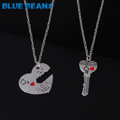 2Pcs/Set Romantic Couple Necklaces Engrave I Love You Love Heart&Key chains pendants Silver Color Chain Collares jewerly Selling
