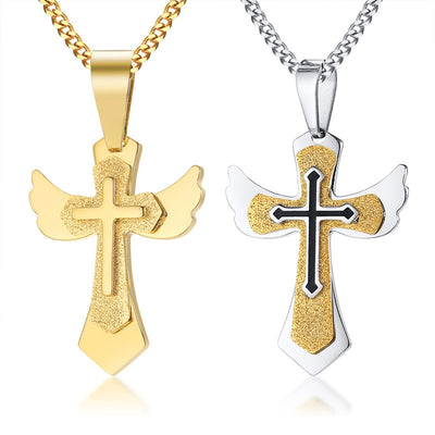 Hip Hop Rock Gold Color Stainless Steel Wing Multilayer Cross Pendant Necklace for Men Christian Church Prayer Jewerly