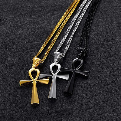 Hip Hop Rock Gold Color Stainless Steel Ankh Cross Pendant Necklace for Men Jewerly Drop Shipping
