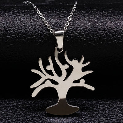 2018 Tree of Life Necklaces Women Jewerly Round Silver Color Stainless Steel Necklaces & Pendants Jewelry gargantilla N17942