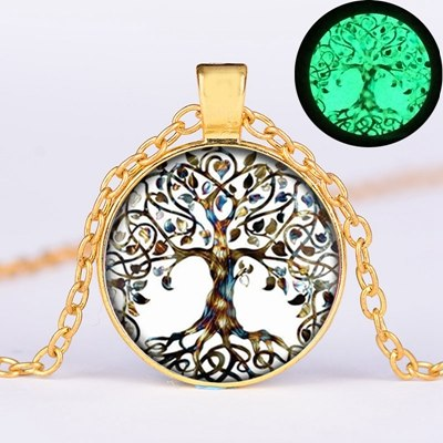 SONGDA Fashion Glow in the Dark Tree of Life Statement Necklace Glass Gem Luminous Pendant Retro Silver Bronze Colour Long Chain