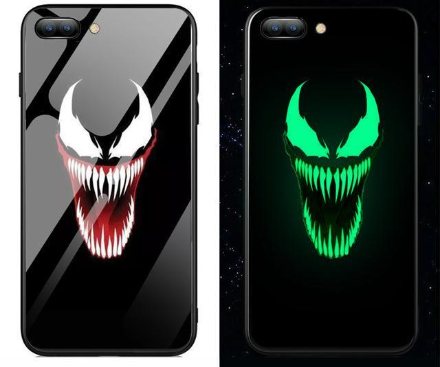 new product 4626d 8dd60 Venom Glow In The Dark Tempered Glass Phone Case