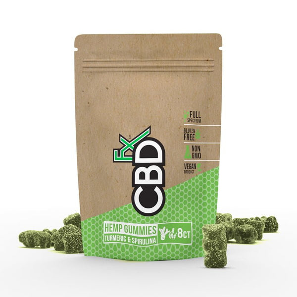Cannabidiol (CBD) Gummy Bears 8ct Pouch 40mg with Turmeric and Spirulina - Buy direct at wholesale price from the Factory Outlet CBDfx Gummy Bears