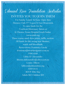 Edmund Rice Foundation Australia invites you to join them for Sunday Lunch 3rd June 12pm-3pm at the Abruzzo Club East Brunswick.