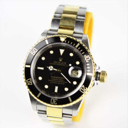d63d2f3f50b Authentic Rolex Submariner 16613 2 Tone Black Gold Watch