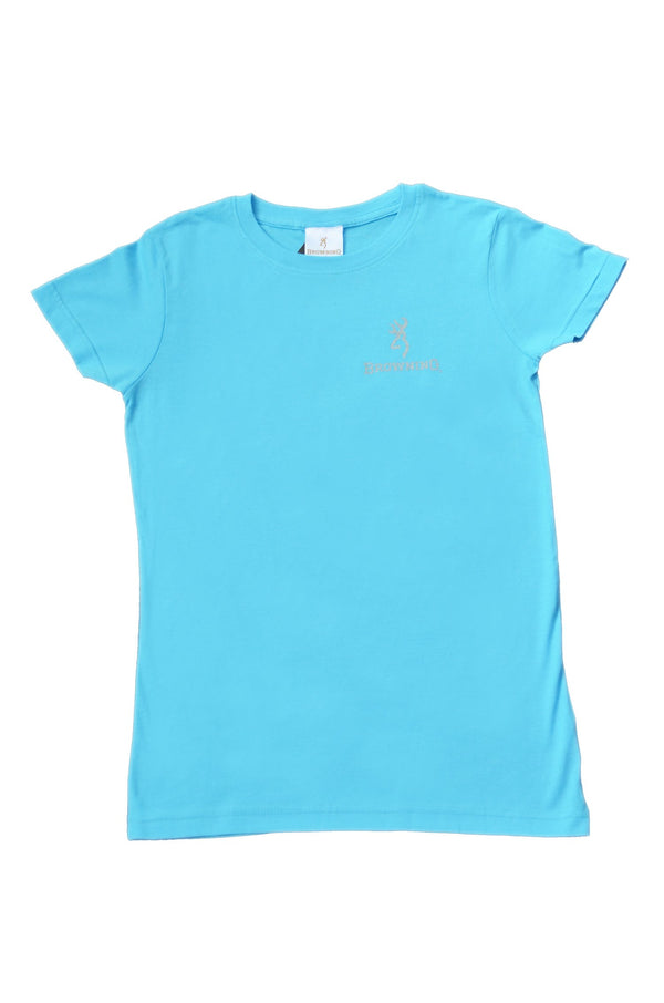 Browning Womens Buckmark Tee Aqua - Large - SKU: BRC4030.252.L - Size: Large, Amazon, Apparel, browning, ebay, size-large, t-shirts, under-50
