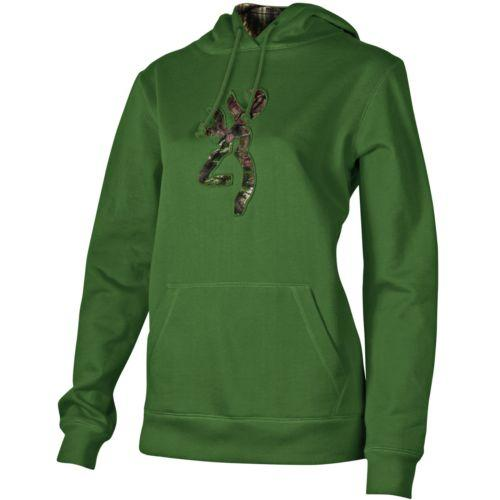 Browning Womens Camo Buckmark Hoodie Clover L - SKU: BRI7356.017.L - Size: Large, Amazon, Apparel, browning, ebay, size-large, sweaters, under-50