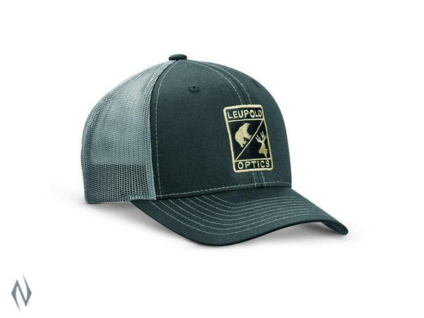 LEUPOLD L OPTIC TRUCKER CAP BLACK / CHARCOAL OS - SKU: LE170580 - Size: Large, Amazon, Apparel, ebay, headwear, leupold, size-large, under-50