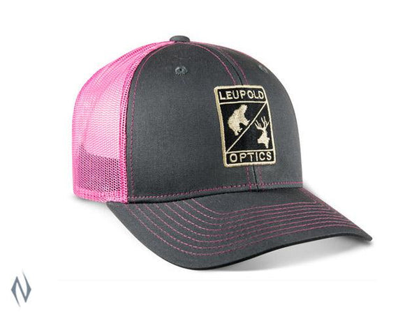 LEUPOLD L OPTIC TRUCKER CAP CHARCOAL / PINK OS - SKU: LE170589 - Size: Large, Amazon, Apparel, ebay, headwear, leupold, size-large, under-50