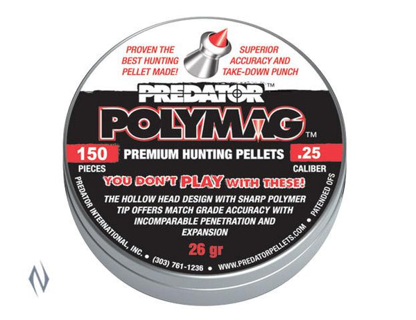 PREDATOR POLYMAG PELLETS 25 CAL 26GR 150 PK - SKU: PP25, air-gun-pellets, Ammunition, predator, under-50