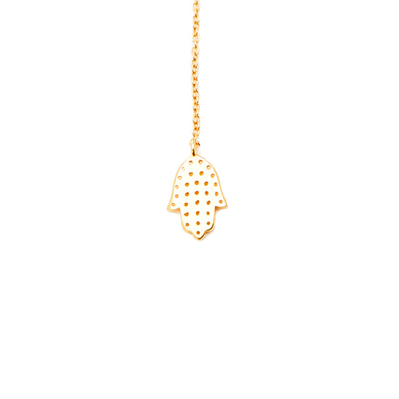 18k Gold Hamsa Hand Star Lariat Necklace