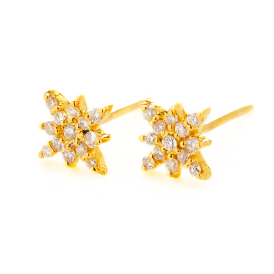 18k Gold Starburst Diamond Stud Earrings