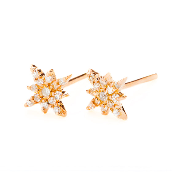 18k Rose Gold Starburst Diamond Stud Earrings