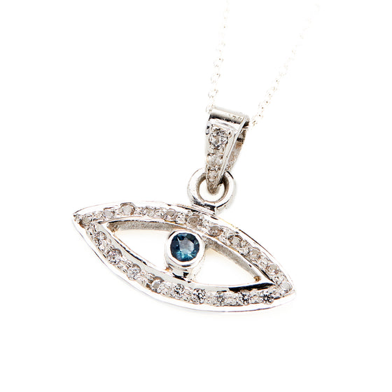 18k White Gold Diamond and Blue Sapphire Evil Eye necklace