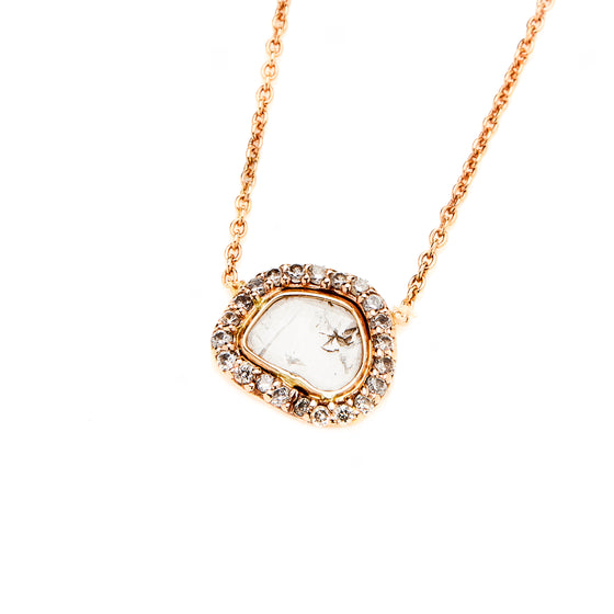 14k Rose Gold Diamond Slice Pendant Necklace