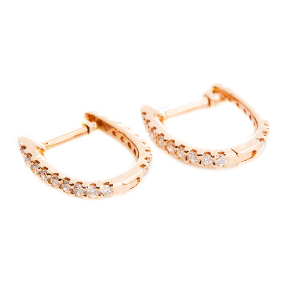 14k Rose Gold Diamond Tiny Hoops Earrings