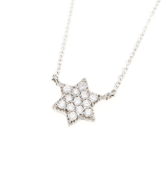 18k White Gold 6 Point Star Necklace