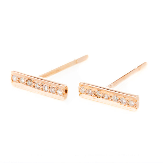 18k Rose Gold Diamond Bar Stud Earrings