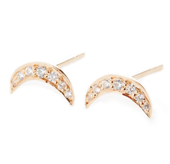 Rose Gold Moon Stud Earrings- Mini Me