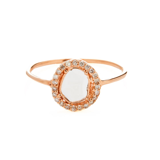 14k Rose Gold Diamond Slice Ring