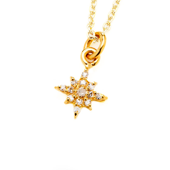 18k Gold Starburst Diamond Necklace