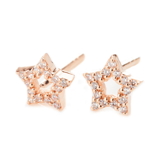 Rose Gold Star Stud Earrings- Mini Me
