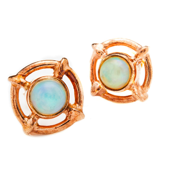 Rose Gold Opal Stud Earrings