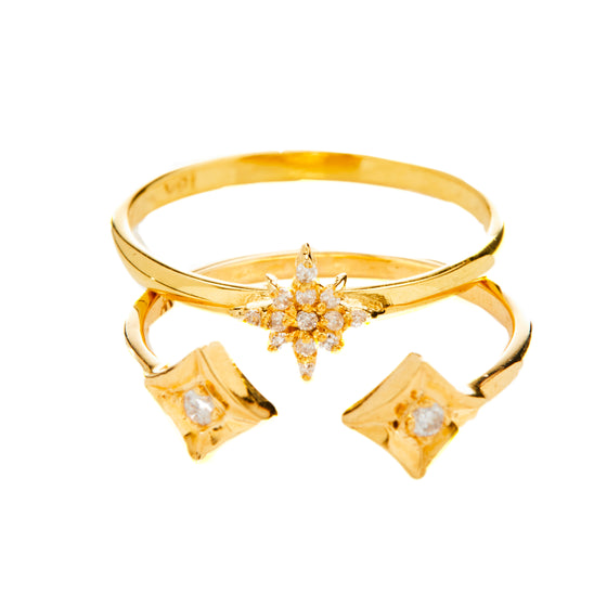 18k Gold Diamond Starburst- Ring B